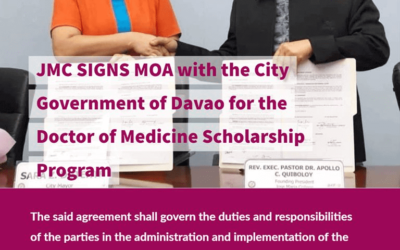 JMC signs MOA with the City Government of Davao for the Doctor of Medicine Scholarship program which will take effect starting August 2019