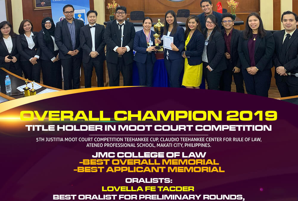 OVERALL CHAMPION 2019 IN MOOT COURT COMPETITION.