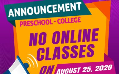 No Online Classes on August 25, 2020