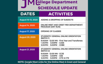 JMC College Department Schedules