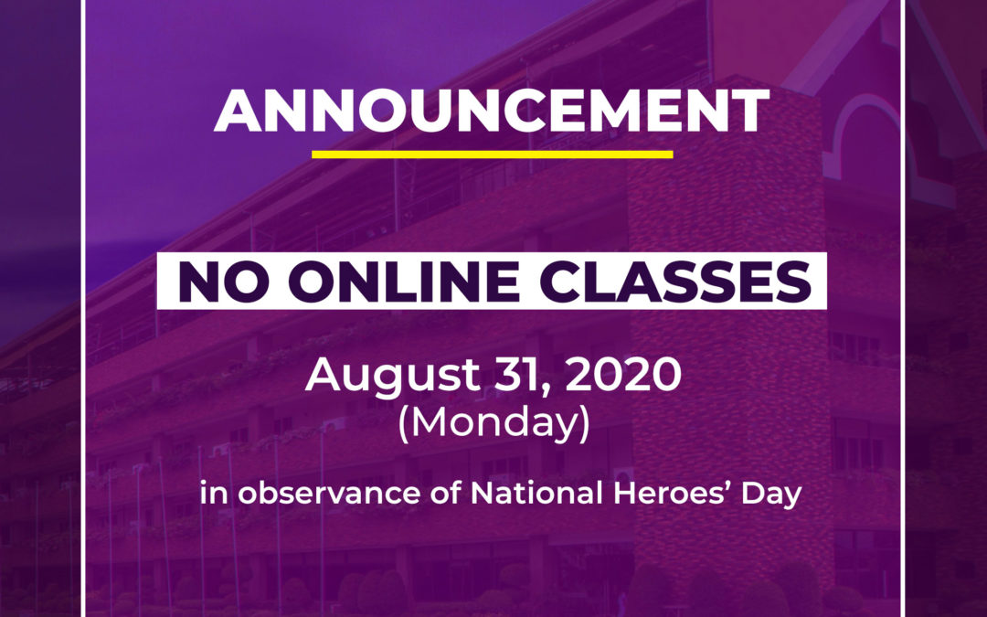 NO ONLINE CLASSES on Monday, August 31, 2020