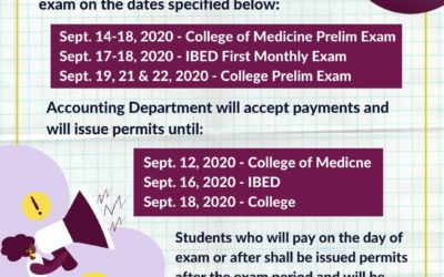Exam Schedules and Updated Payment Procedures